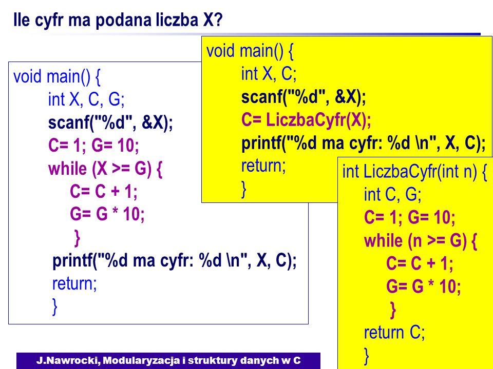 J.Nawrocki, Modularyzacja i struktury danych w C Ile cyfr ma podana liczba X? void main() { int X, C, G; scanf(