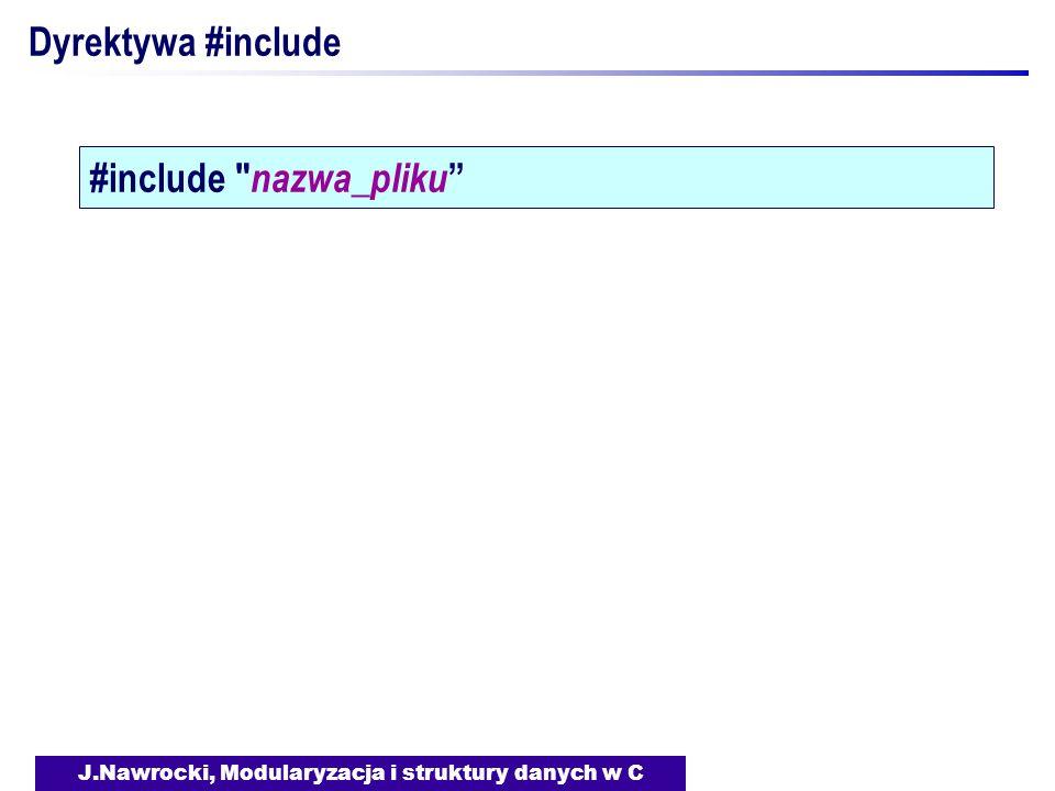 J.Nawrocki, Modularyzacja i struktury danych w C Dyrektywa #include #include