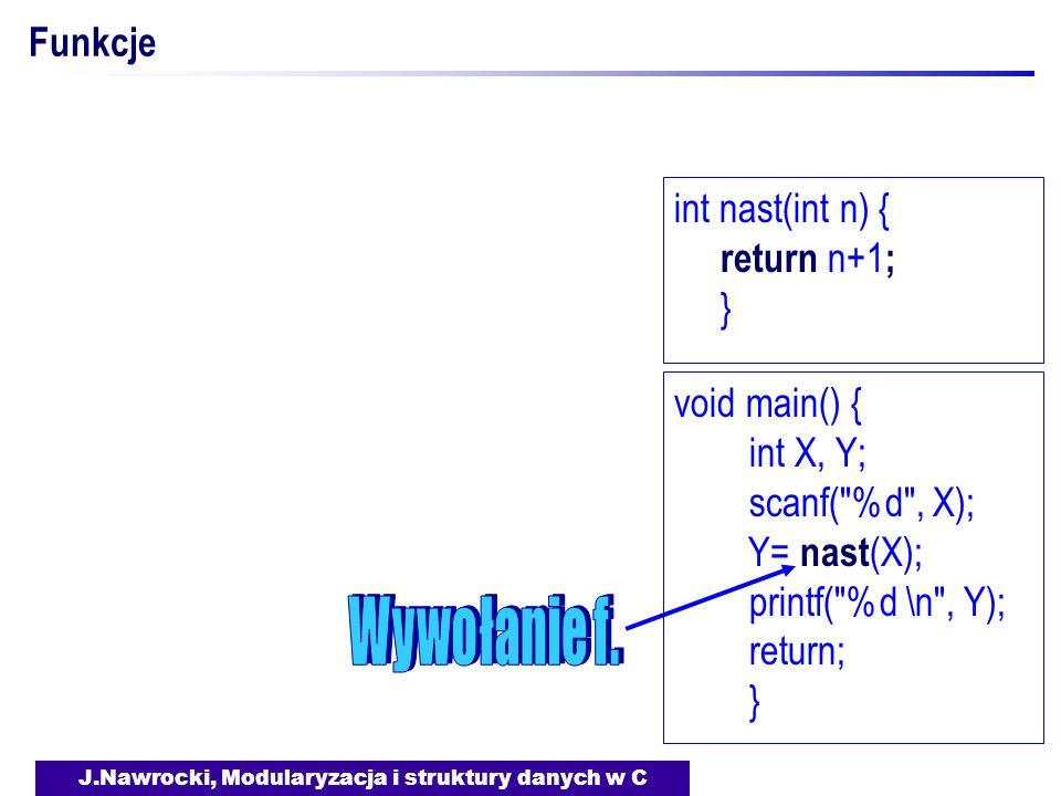 J.Nawrocki, Modularyzacja i struktury danych w C Funkcje void main() { int X, Y; scanf( %d , X); Y= nast (X); printf( %d \n , Y); return; } int nast(int n) { return n+1 ; }