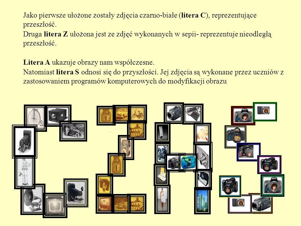 Jako pierwsze ułożone zostały zdjęcia czarno-białe (litera C), reprezentujące przeszłość. Druga litera Z ułożona jest ze zdjęć wykonanych w sepii- rep