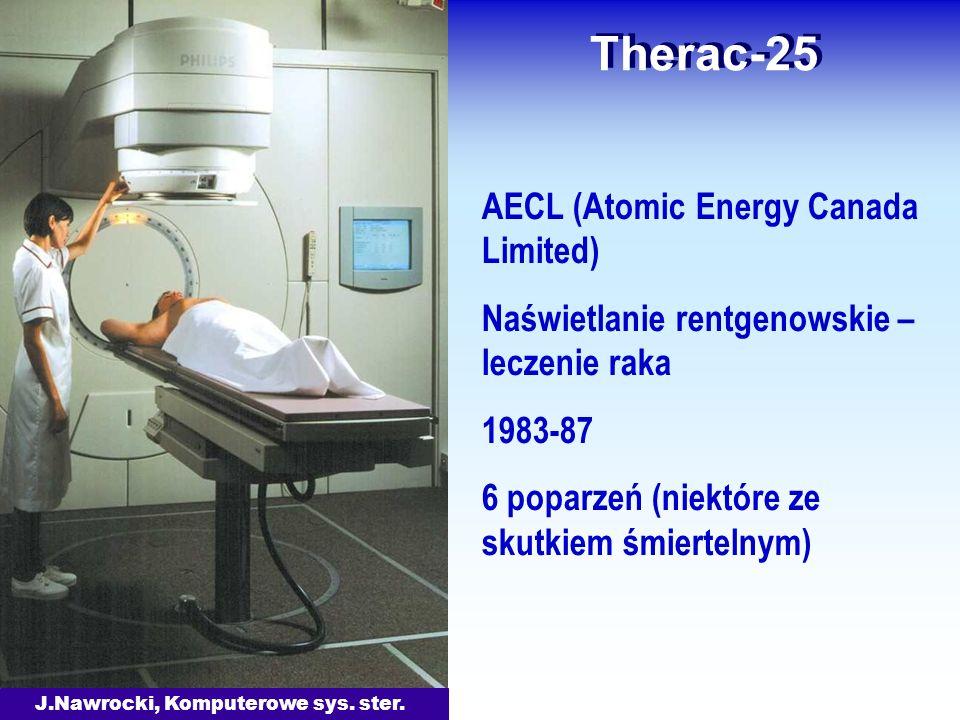 J.Nawrocki, Komputerowe sys. ster. Therac-25 AECL (Atomic Energy Canada Limited) Naświetlanie rentgenowskie – leczenie raka 1983-87 6 poparzeń (niektó
