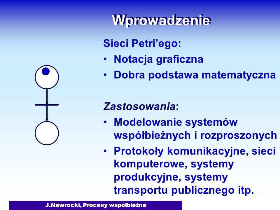 J.Nawrocki, Procesy współbieżne Wprowadzenie Sieci Petriego: Notacja graficzna Dobra podstawa matematyczna Zastosowania: Modelowanie systemów współbie