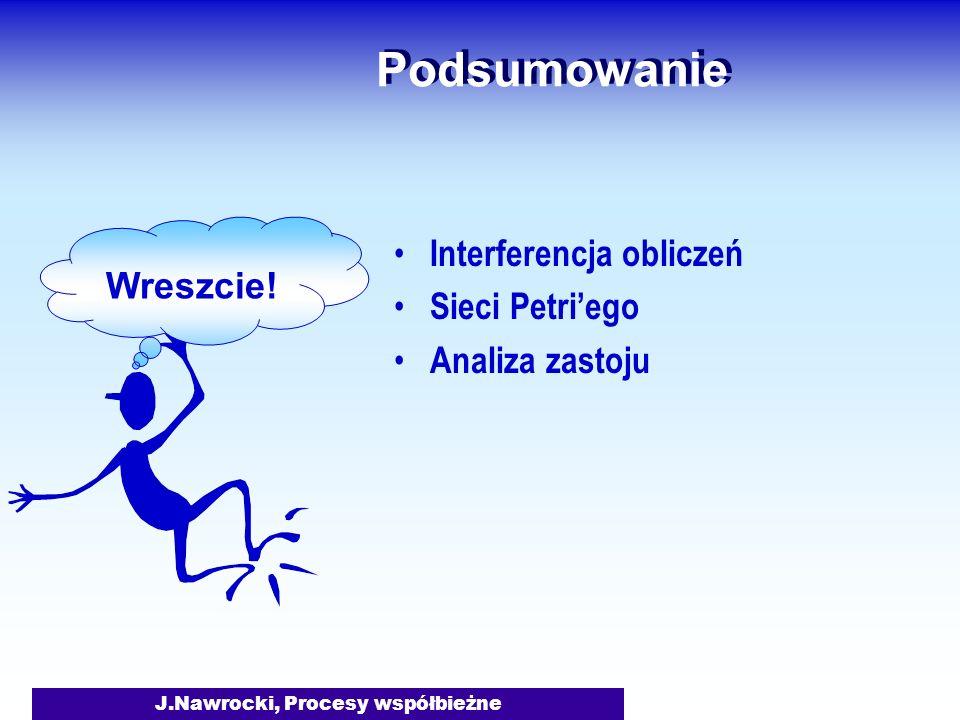 J.Nawrocki, Procesy współbieżne Podsumowanie Interferencja obliczeń Sieci Petriego Analiza zastoju Wreszcie!