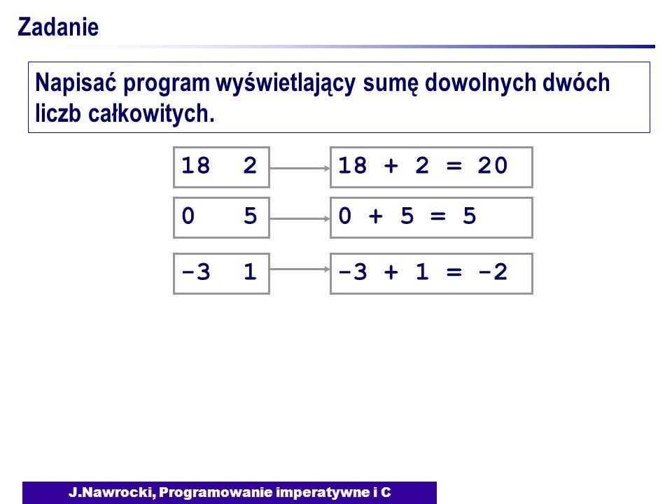 J.Nawrocki, Programowanie imperatywne i C Zadanie Napisać program wyświetlający sumę dowolnych dwóch liczb całkowitych. 18 2 0 5 -3 1 18 + 2 = 200 + 5