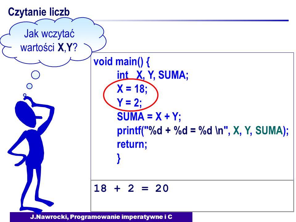 J.Nawrocki, Programowanie imperatywne i C void main() { int X, Y, SUMA; X = 18; Y = 2; SUMA = X + Y; printf(