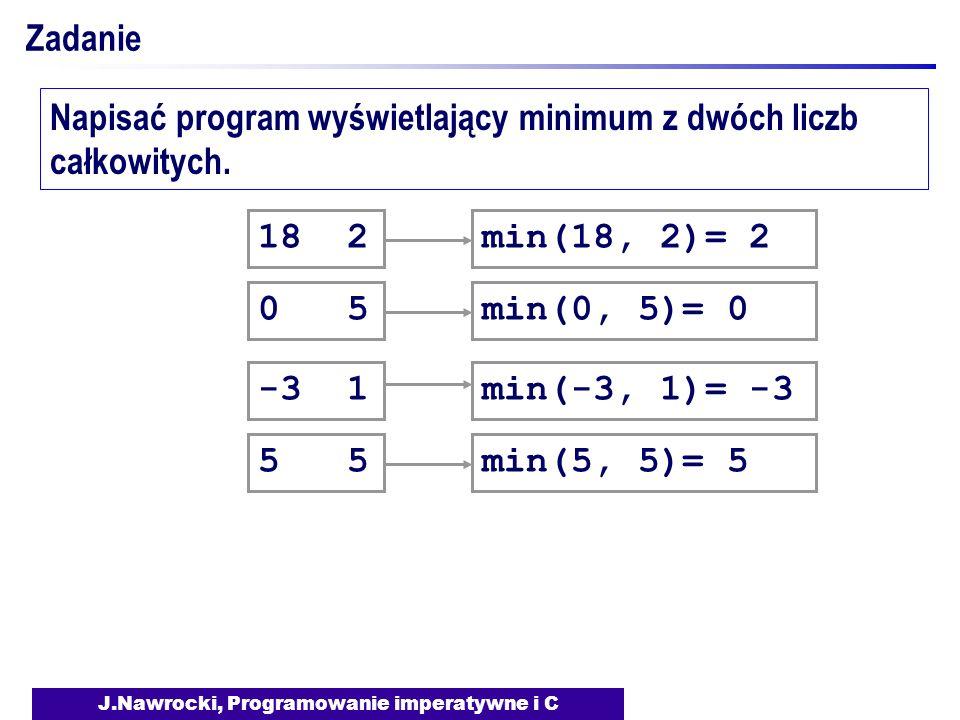 J.Nawrocki, Programowanie imperatywne i C Zadanie Napisać program wyświetlający minimum z dwóch liczb całkowitych. 18 2 0 5 -3 1 min(18, 2)= 2min(0, 5