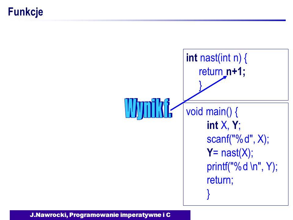 J.Nawrocki, Programowanie imperatywne i C Funkcje void main() { int X, Y ; scanf(