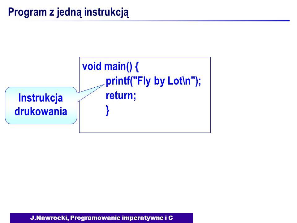 J.Nawrocki, Programowanie imperatywne i C Program z jedną instrukcją void main() { printf(