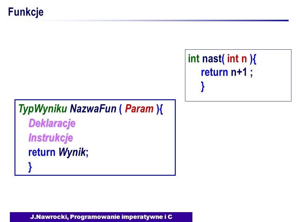 J.Nawrocki, Programowanie imperatywne i C Funkcje TypWyniku NazwaFun ( Param ){ Deklaracje Instrukcje Instrukcje return Wynik ; } int nast( int n ){ r