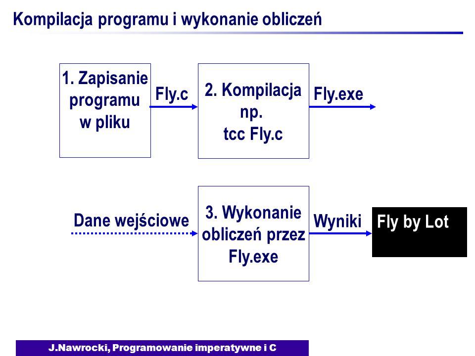 J.Nawrocki, Programowanie imperatywne i C Kompilacja programu i wykonanie obliczeń 1. Zapisanie programu w pliku Fly.cFly.exe Dane wejściowe Fly by Lo
