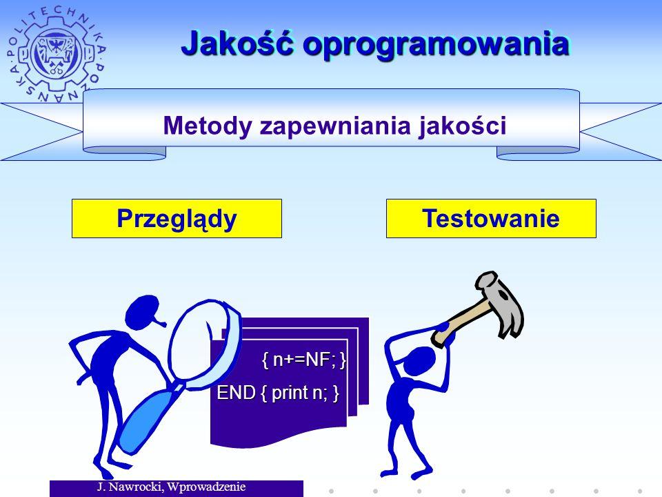 J. Nawrocki, Wprowadzenie Jakość oprogramowania Przeglądy Metody zapewniania jakości { n+=NF; } { n+=NF; } END { print n; } Testowanie