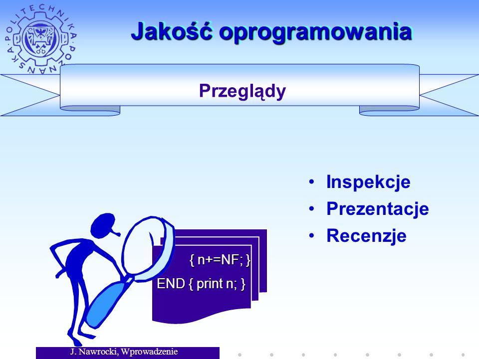 J. Nawrocki, Wprowadzenie Jakość oprogramowania Inspekcje Prezentacje Recenzje { n+=NF; } { n+=NF; } END { print n; } Przeglądy