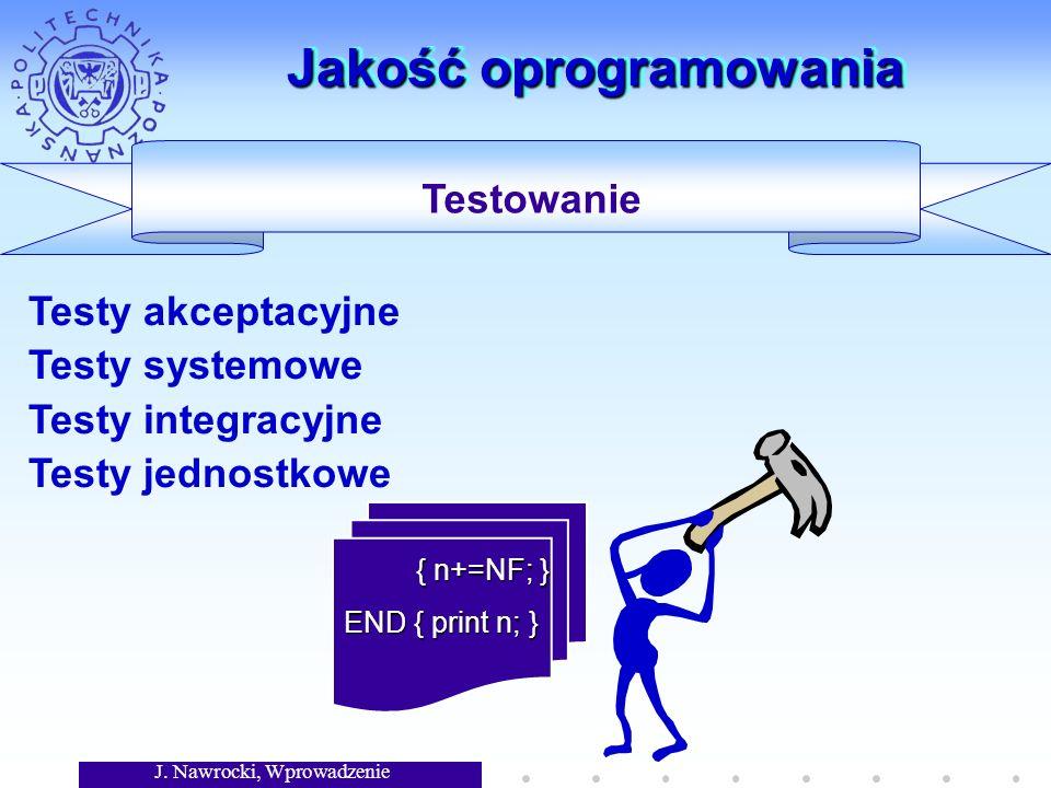 J. Nawrocki, Wprowadzenie Jakość oprogramowania { n+=NF; } { n+=NF; } END { print n; } Testowanie Testy akceptacyjne Testy systemowe Testy integracyjn