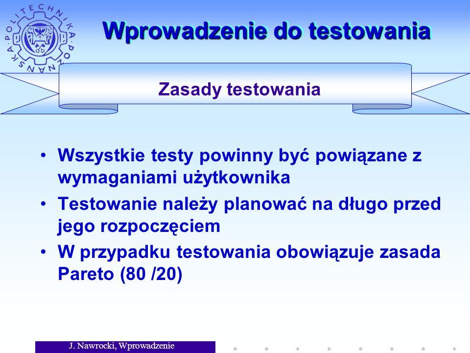 J. Nawrocki, Wprowadzenie Wprowadzenie do testowania Wszystkie testy powinny być powiązane z wymaganiami użytkownika Testowanie należy planować na dłu