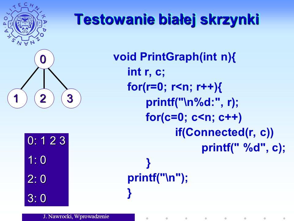 J. Nawrocki, Wprowadzenie Testowanie białej skrzynki void PrintGraph(int n){ int r, c; for(r=0; r<n; r++){ printf(