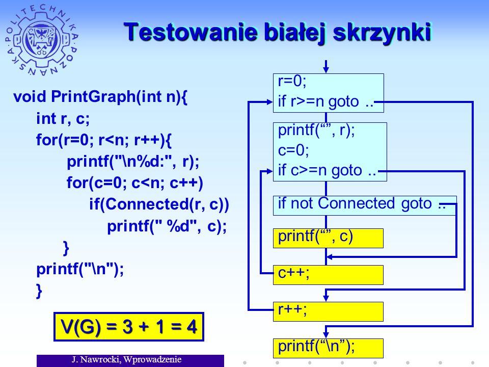 J. Nawrocki, Wprowadzenie Testowanie białej skrzynki r=0; if r>=n goto.. printf(, r); c=0; if c>=n goto.. if not Connected goto.. printf(, c) c++; r++