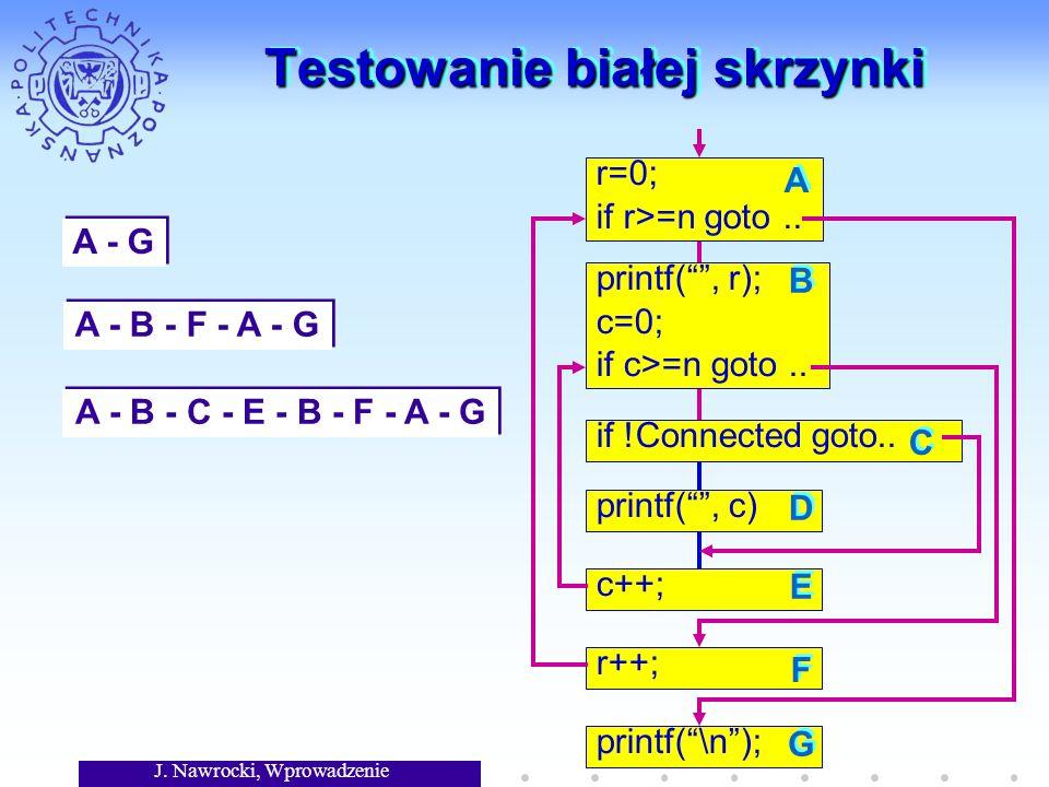 J. Nawrocki, Wprowadzenie Testowanie białej skrzynki r=0; if r>=n goto.. printf(, r); c=0; if c>=n goto.. if !Connected goto.. printf(, c) c++; r++; p