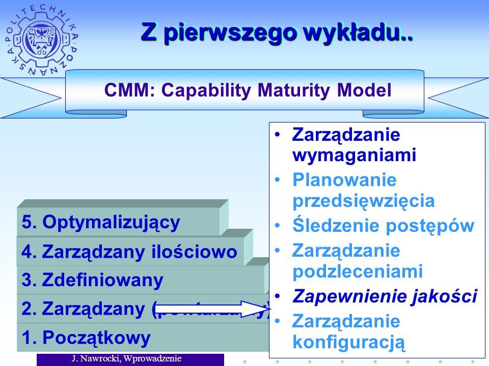 J. Nawrocki, Wprowadzenie Z pierwszego wykładu.. CMM: Capability Maturity Model 1. Początkowy 2. Zarządzany (powtarzalny) 3. Zdefiniowany 4. Zarządzan