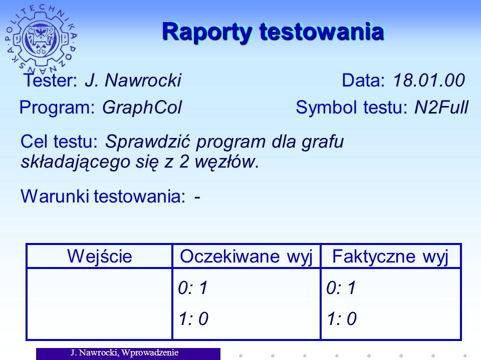 J. Nawrocki, Wprowadzenie Raporty testowania Tester: J. Nawrocki Data: 18.01.00 Program: GraphCol Symbol testu: N2Full Cel testu: Sprawdzić program dl