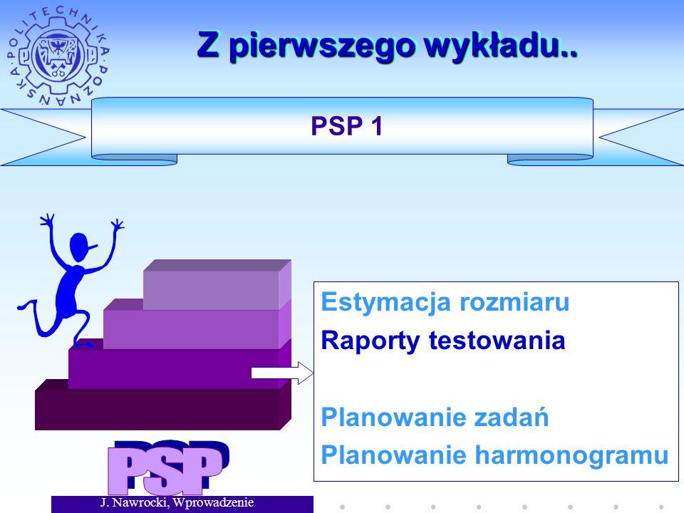 J. Nawrocki, Wprowadzenie Z pierwszego wykładu.. Estymacja rozmiaru Raporty testowania Planowanie zadań Planowanie harmonogramu PSP 1