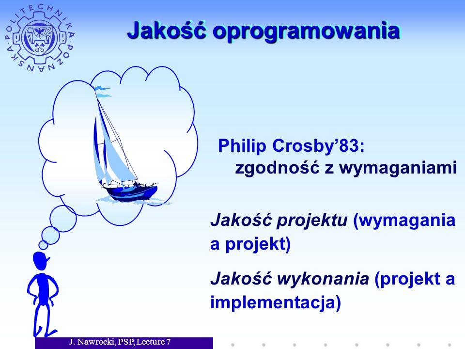J. Nawrocki, PSP, Lecture 7 Jakość oprogramowania Philip Crosby83: zgodność z wymaganiami Jakość projektu (wymagania a projekt) Jakość wykonania (proj