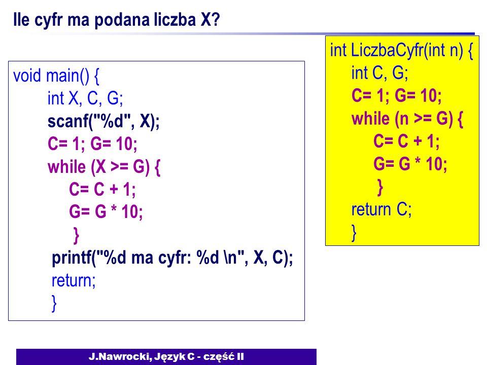 J.Nawrocki, Język C - część II Ile cyfr ma podana liczba X.