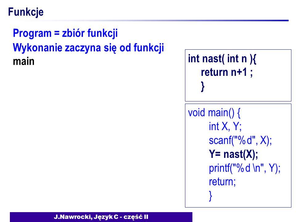 J.Nawrocki, Język C - część II Funkcje Program = zbiór funkcji Wykonanie zaczyna się od funkcji main void main() { int X, Y; scanf( %d , X); Y= nast(X); printf( %d \n , Y); return; } int nast( int n ){ return n+1 ; }