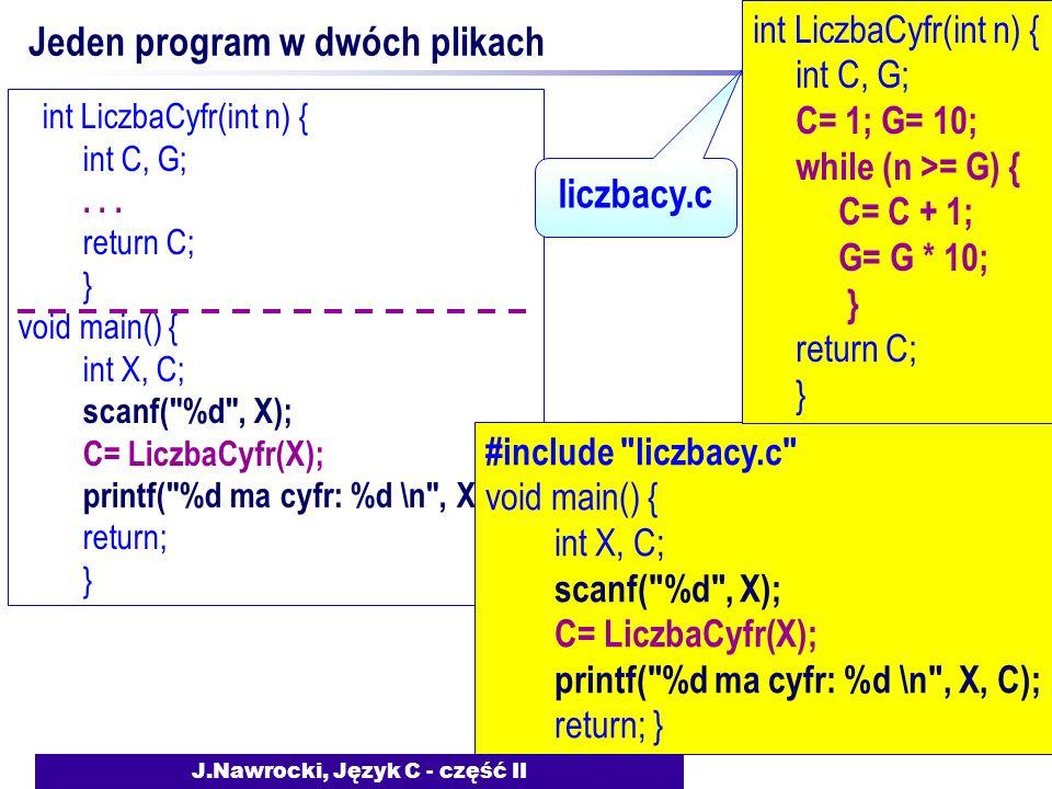 J.Nawrocki, Język C - część II Jeden program w dwóch plikach int LiczbaCyfr(int n) { int C, G;...