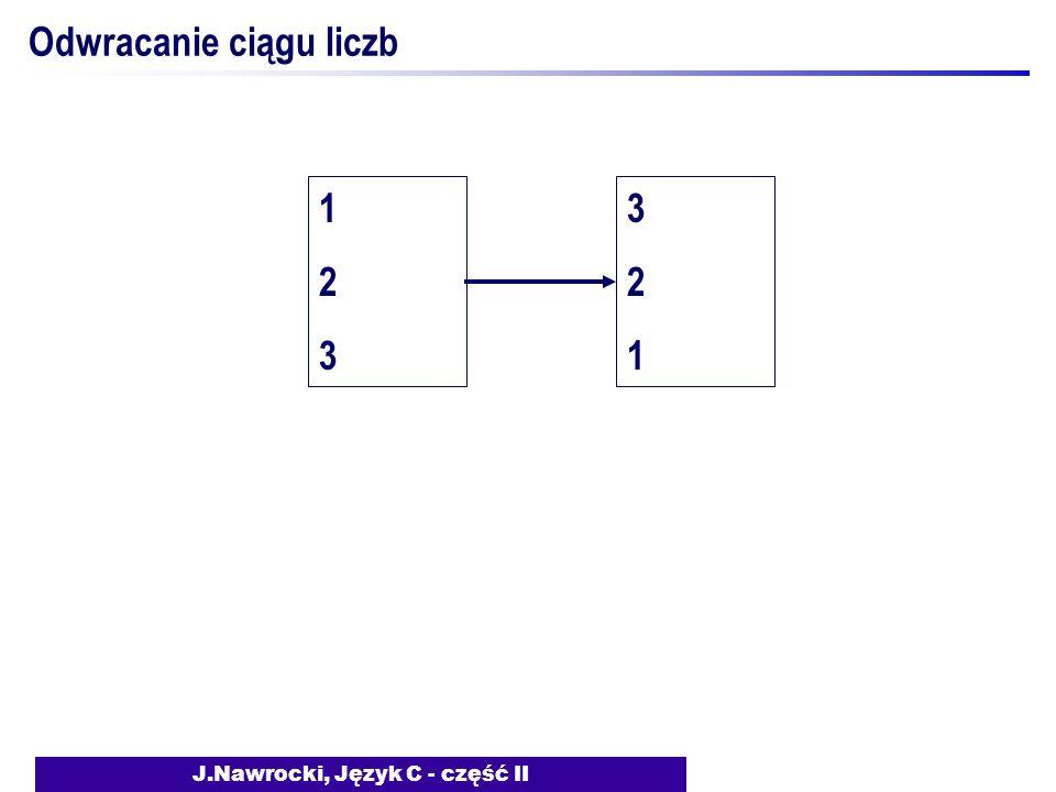 J.Nawrocki, Język C - część II Odwracanie ciągu liczb 123123 321321
