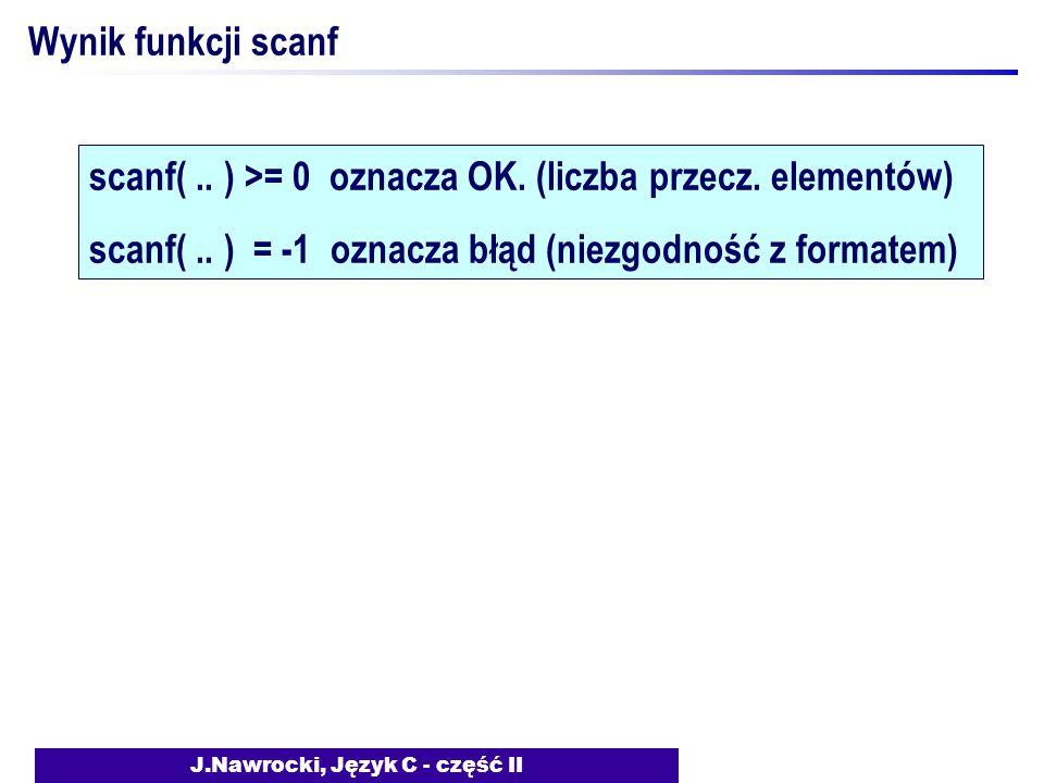 J.Nawrocki, Język C - część II Wynik funkcji scanf scanf(..