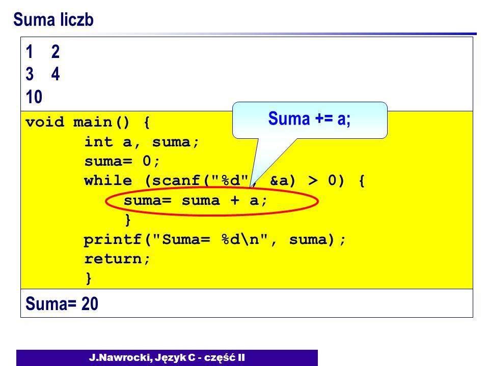 J.Nawrocki, Język C - część II Suma liczb void main() { int a, suma; suma= 0; while (scanf( %d , &a) > 0) { suma= suma + a; } printf( Suma= %d\n , suma); return; } 1 2 3 4 10 Suma= 20 Suma += a;