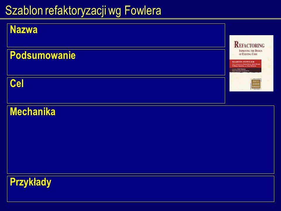 Szablon refaktoryzacji wg Fowlera Nazwa Podsumowanie Cel Mechanika Przykłady