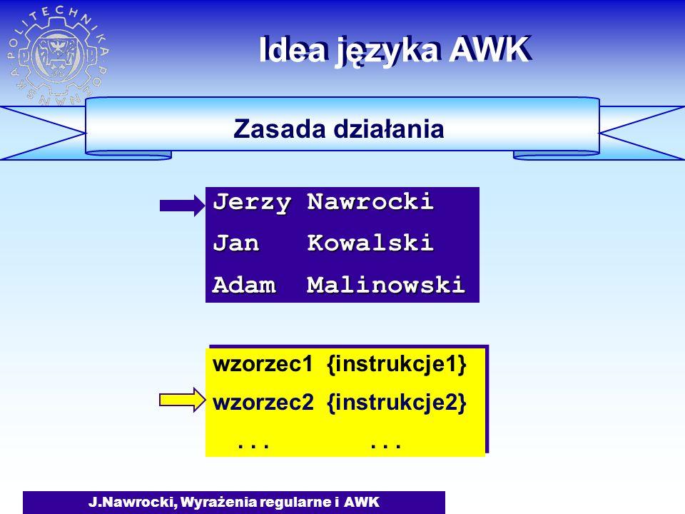J.Nawrocki, Wyrażenia regularne i AWK Idea języka AWK Zasada działania wzorzec1 {instrukcje1} wzorzec2 {instrukcje2}...... wzorzec1 {instrukcje1} wzor
