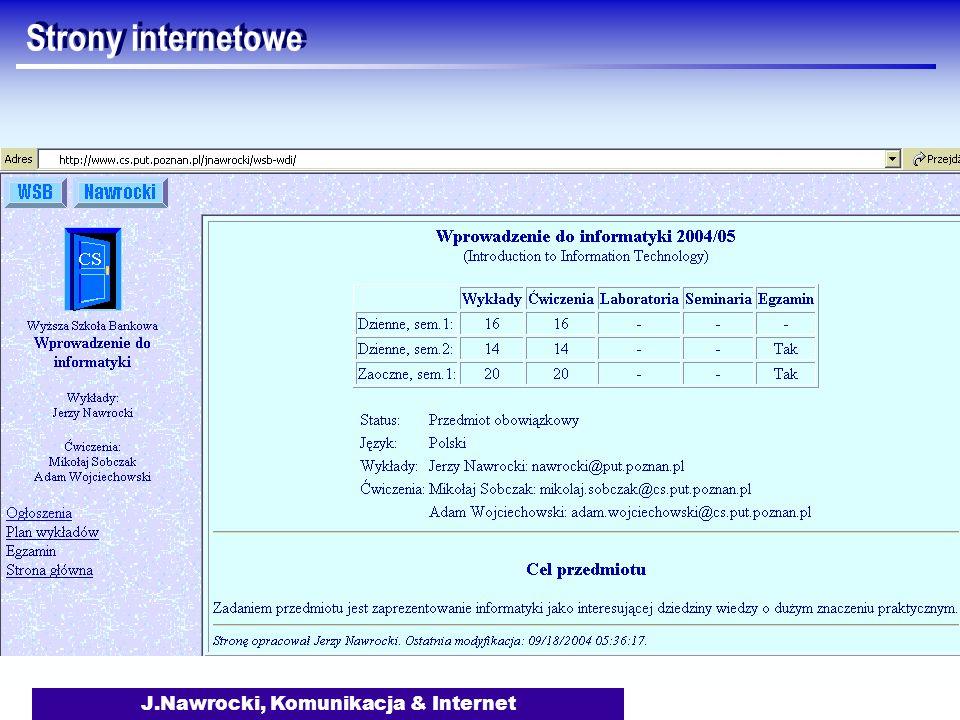 J.Nawrocki, Komunikacja & Internet Strony internetowe
