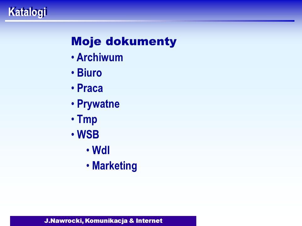 J.Nawrocki, Komunikacja & Internet Katalogi Moje dokumenty Archiwum Biuro Praca Prywatne Tmp WSB WdI Marketing