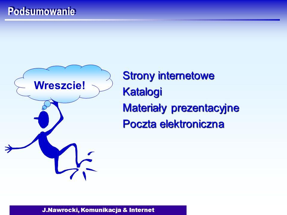J.Nawrocki, Komunikacja & Internet Podsumowanie Strony internetowe Katalogi Materiały prezentacyjne Poczta elektroniczna Wreszcie!