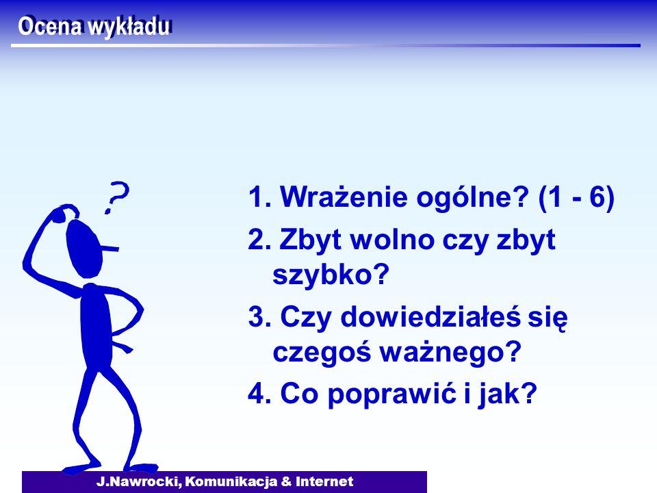 J.Nawrocki, Komunikacja & Internet Ocena wykładu 1. Wrażenie ogólne? (1 - 6) 2. Zbyt wolno czy zbyt szybko? 3. Czy dowiedziałeś się czegoś ważnego? 4.