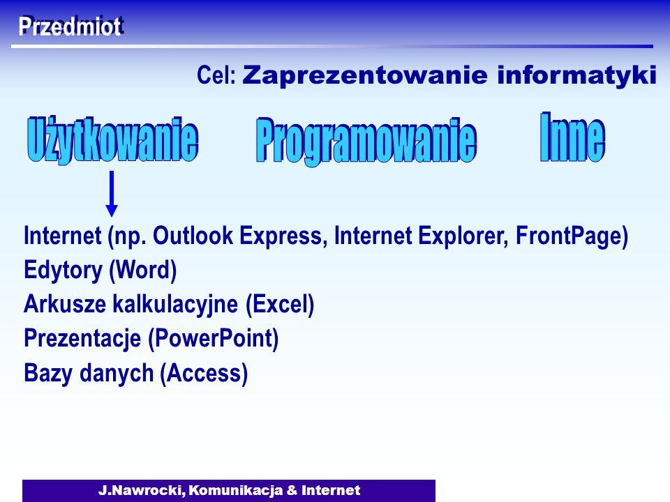 J.Nawrocki, Komunikacja & Internet Przedmiot Internet (np. Outlook Express, Internet Explorer, FrontPage) Edytory (Word) Arkusze kalkulacyjne (Excel)