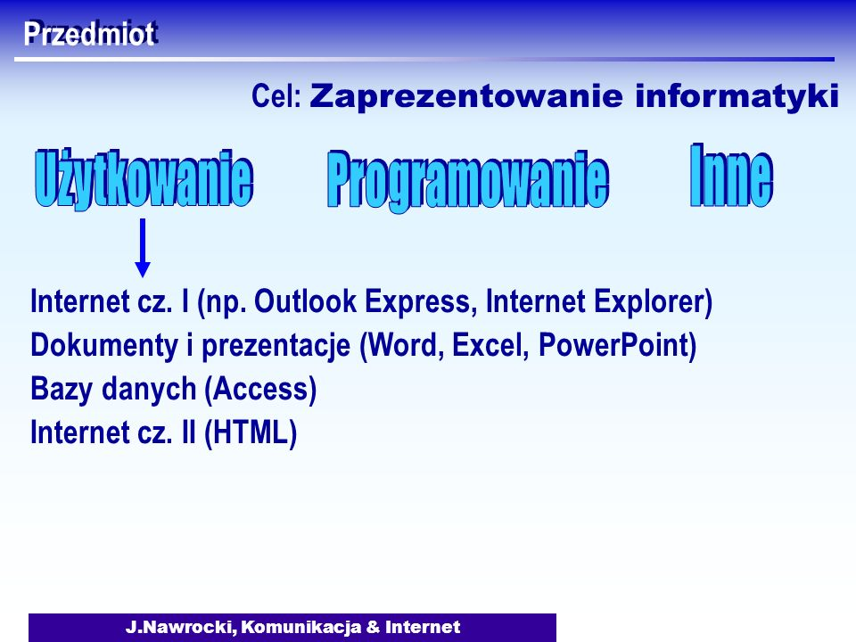 J.Nawrocki, Komunikacja & Internet Przedmiot Internet cz. I (np. Outlook Express, Internet Explorer) Dokumenty i prezentacje (Word, Excel, PowerPoint)