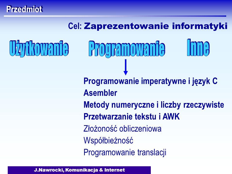 J.Nawrocki, Komunikacja & Internet Przedmiot Programowanie imperatywne i język C Asembler Metody numeryczne i liczby rzeczywiste Przetwarzanie tekstu