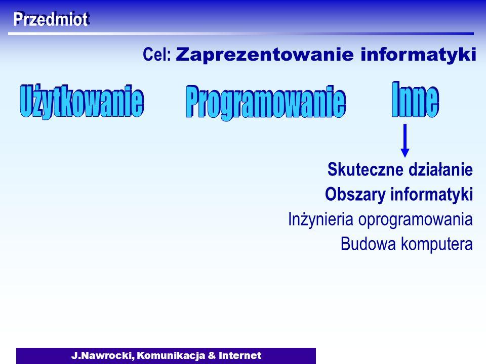 J.Nawrocki, Komunikacja & Internet Przedmiot Skuteczne działanie Obszary informatyki Inżynieria oprogramowania Budowa komputera Cel: Zaprezentowanie i
