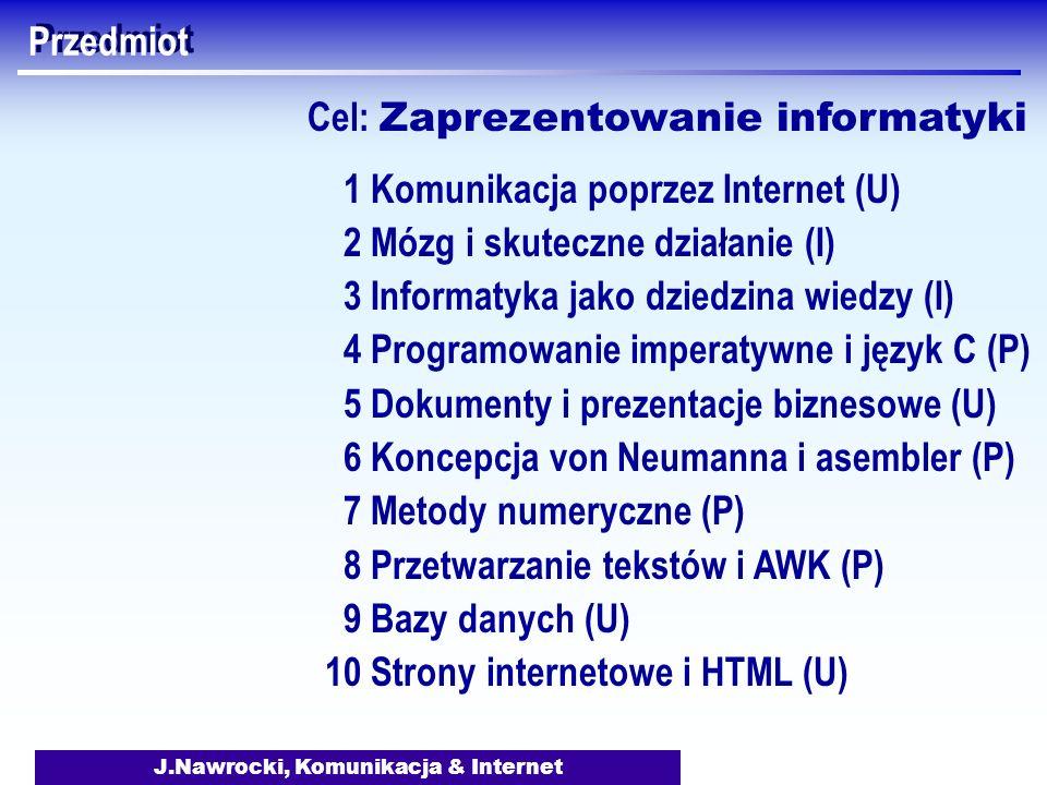J.Nawrocki, Komunikacja & Internet Przedmiot 1 Komunikacja poprzez Internet (U) 2 Mózg i skuteczne działanie (I) 3 Informatyka jako dziedzina wiedzy (