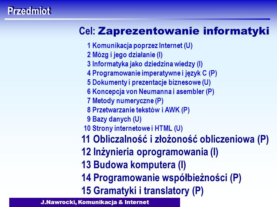 J.Nawrocki, Komunikacja & Internet Przedmiot 11 Obliczalność i złożoność obliczeniowa (P) 12 Inżynieria oprogramowania (I) 13 Budowa komputera (I) 14