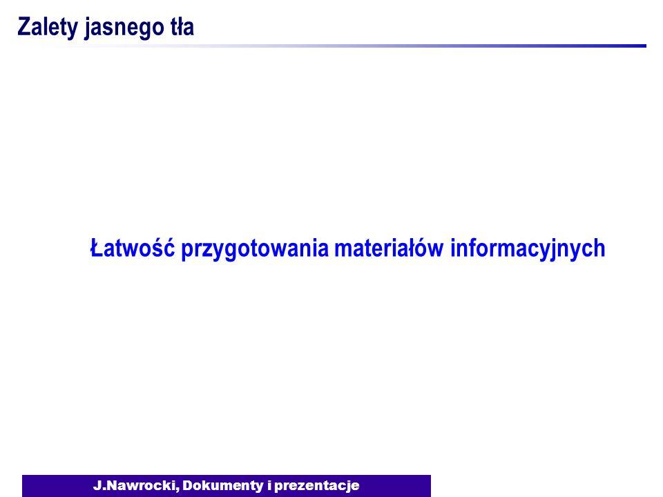 J.Nawrocki, Dokumenty i prezentacje Zalety jasnego tła Łatwość przygotowania materiałów informacyjnych