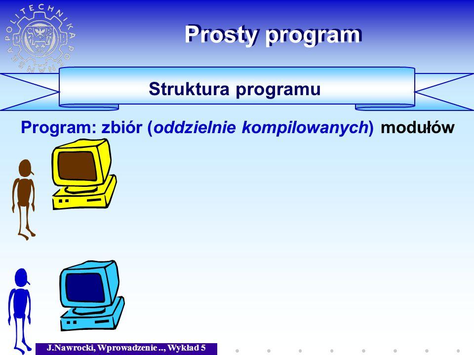 J.Nawrocki, Wprowadzenie.., Wykład 5 Prosty program Struktura programu Program: zbiór (oddzielnie kompilowanych) modułów