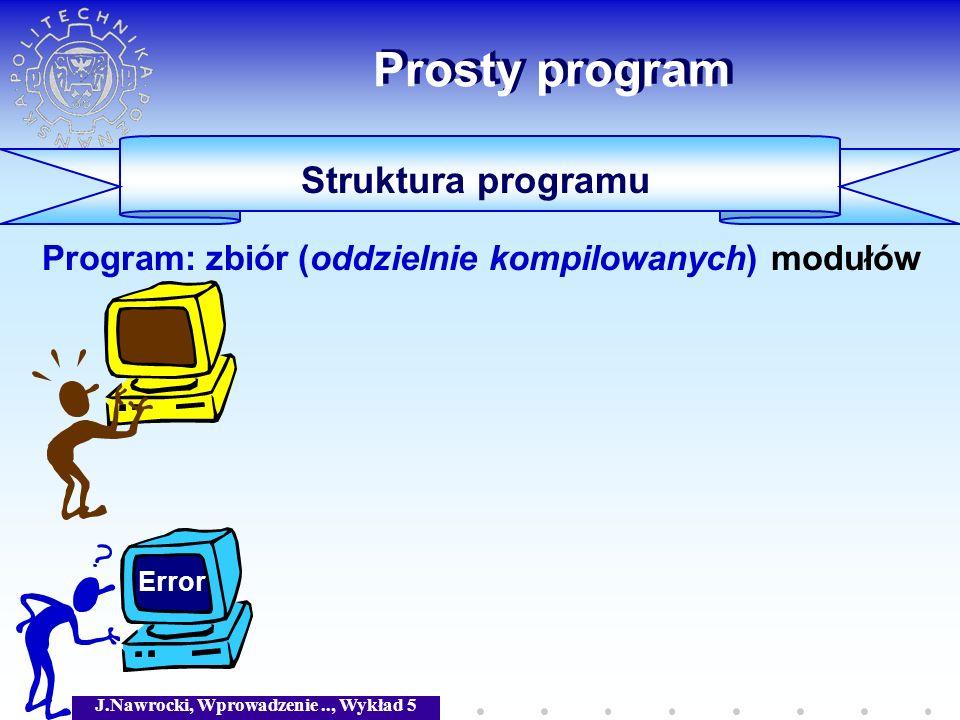 J.Nawrocki, Wprowadzenie.., Wykład 5 Prosty program Struktura programu Program: zbiór (oddzielnie kompilowanych) modułów Error