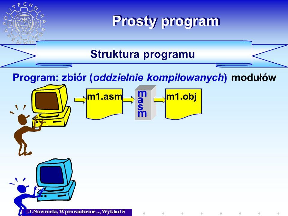 J.Nawrocki, Wprowadzenie.., Wykład 5 Prosty program Struktura programu Program: zbiór (oddzielnie kompilowanych) modułów m1.asm masmmasm m1.obj