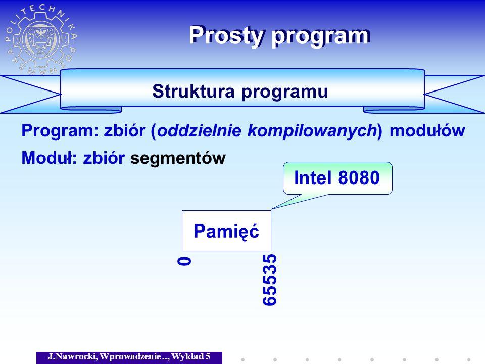 J.Nawrocki, Wprowadzenie.., Wykład 5 Prosty program Struktura programu Program: zbiór (oddzielnie kompilowanych) modułów Moduł: zbiór segmentów Pamięć