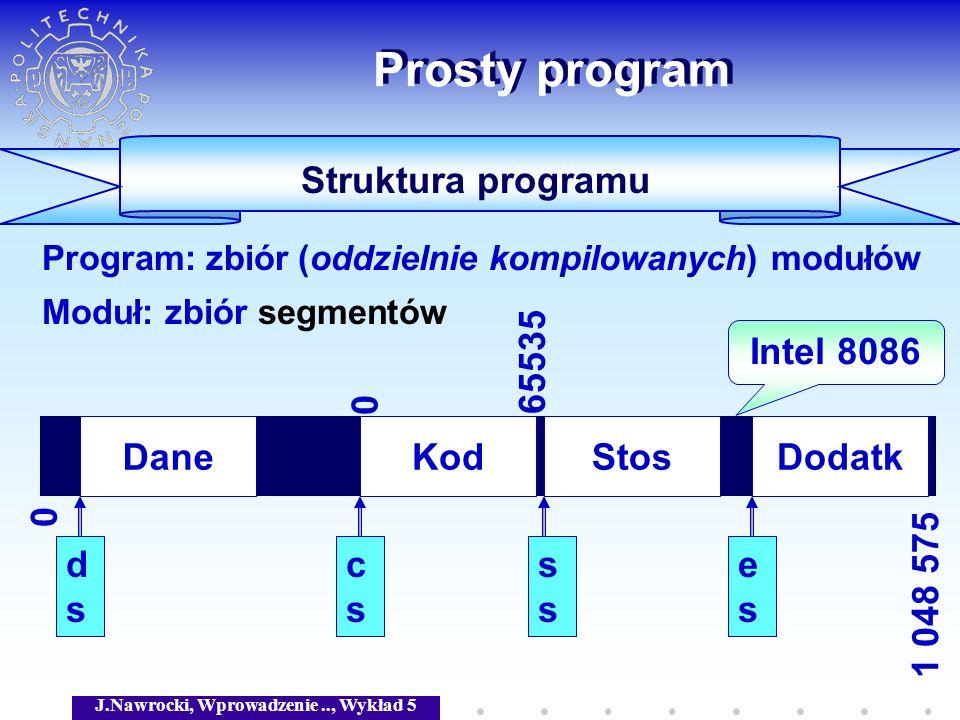 J.Nawrocki, Wprowadzenie.., Wykład 5 Prosty program Struktura programu Program: zbiór (oddzielnie kompilowanych) modułów Moduł: zbiór segmentów KodDan