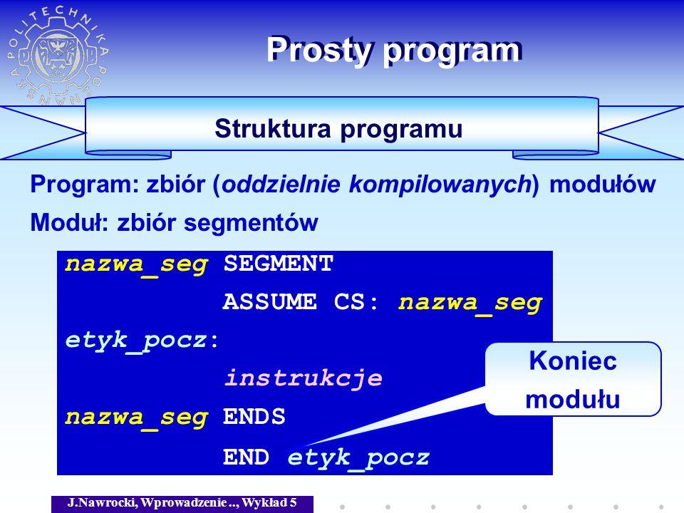 J.Nawrocki, Wprowadzenie.., Wykład 5 Prosty program Struktura programu nazwa_seg SEGMENT ASSUME CS: nazwa_seg etyk_pocz: instrukcje nazwa_seg ENDS END